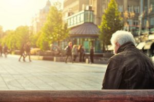 A retiree enjoying a shopping centre