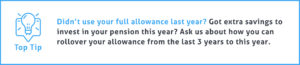End of Tax Year Tip #2 - Didn't use your full allowance last year? Got extra savings to invest in your pension this year? Ask us about how you can rollover your allowance from the last 3 years to this year.